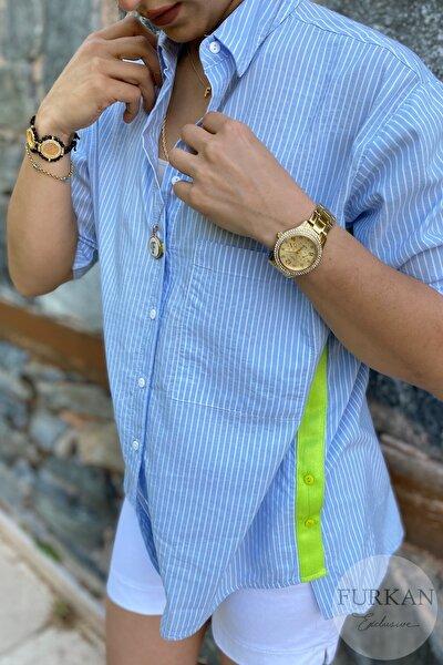 FURKAN EXCLUSIVE Kadın Mavi Yanı Düğme Ve Neon Şerit Detaylı Tek Cep Oversize Salaş Kalıp Ince Gömlek