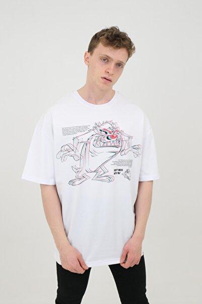 Machinist Beyaz Unisex Oversize Pamuklu Yazı Baskılı Tişört Tazmanya Canavarı