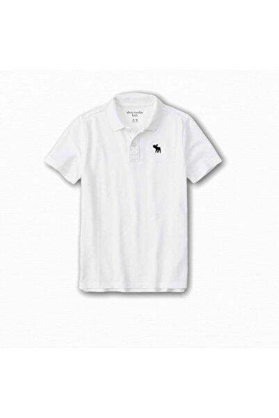 Abercrombie Erkek Çocuk Beyaz Icon Polo Yaka T-shirt