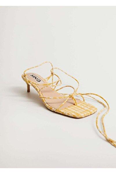 MANGO Woman Vichy Kareli Bantlı Sandalet