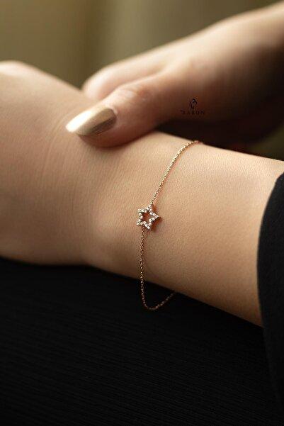 BY BARUN SİLVER Kadın Rose Beyaz Taşlı Yıldız Gümüş Bileklik