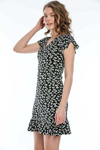 Mossta Kadın Siyah Kolları Volanlı Mini Elbise