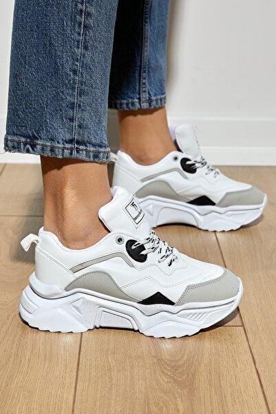 Tonny Black Kadın Beyaz Gri Spor Ayakkabı Tb010