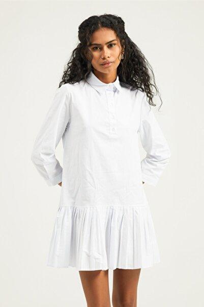 Quzu Kadın Beyaz Piliseli Gömlek Elbise