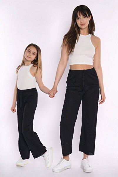 zepkids Anne Kız Siyah Fitilli Pantolon
