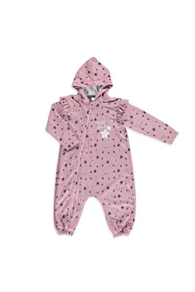 Babyzz Kız Bebek Pembe Yıldız Desenli Kapüşonlu Tulum