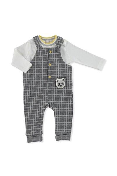 Cassiope Erkek Bebek Gri Pamuklu Uzun Kol Patiksiz Çıtçıtlı Yaka 2li Salopet