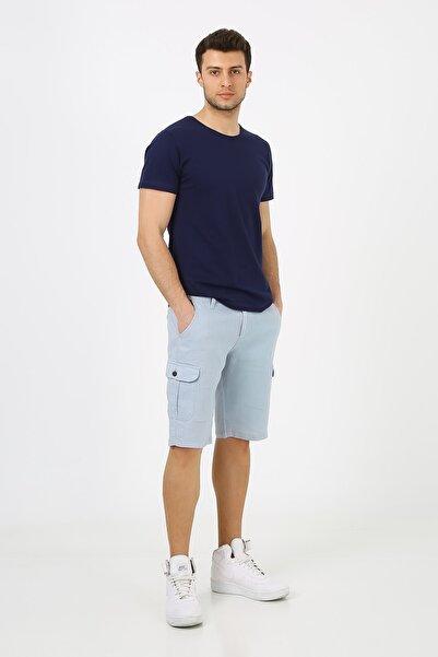 muzzo jeans Erkek Mavi Kargo Cepli Keten Şort