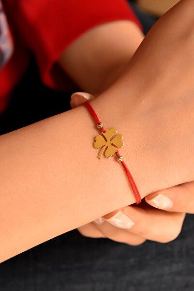 Papatya Silver 925 Ayar Gümüş Kırmızı Ipli Altın Kaplama Yonca Kadın Bileklik