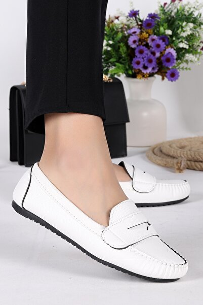 Annamaria Kadın  Beyaz Kolej Günlük Cilt Babet Ayakkabı