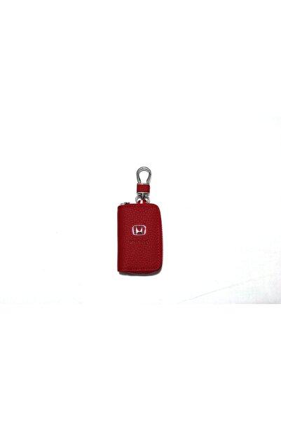 Honda Kırmızı Deri Fermuarlı Anahtarlık Kumanda Kabı Kaliteli Çanta