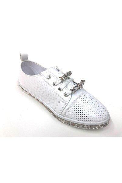 Markopark Kadın Beyaz Taşlı Günlük Spor Ayakkabı