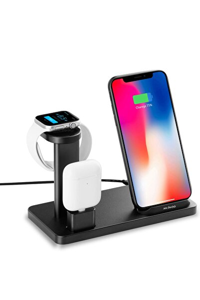 Mcstorey Kablosuz Şarj Aleti iPhone Airpods Apple Watch 1/2/3/4/5 Hızlı Şarj 10W Type-C Stand Çoklu Şarj