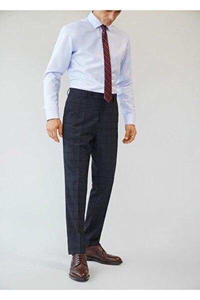 MANGO Man Erkek Mavi Dar Kesim Kareli Takım Pantolon