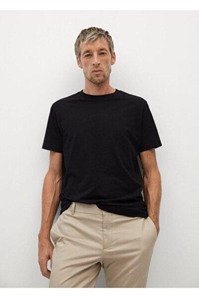 MANGO Man Erkek Siyah Sürdürülebilir Pamuklu Tişört