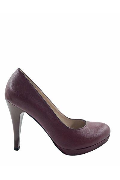 Gess Bordo Hakiki Deri Platform Topuk Ayakkabı