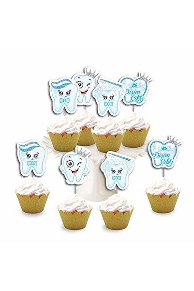 Huzur Party Store Diş Buğdayı Temalı Mavi 8'li Simli Deluxe Muffin Kalıbı Kürdanı Ikramlık Dekoratif Konsept