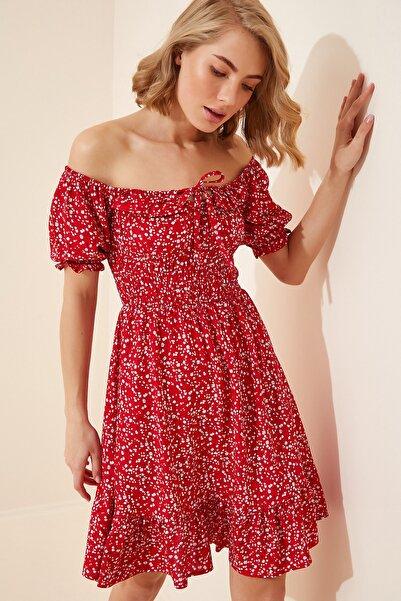 Happiness İst. Kadın Kırmızı Çiçekli Mini Viskon Elbise DK00065