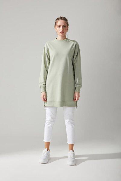 Mizalle Yandan Fermuarlı Mint Sweatshirt