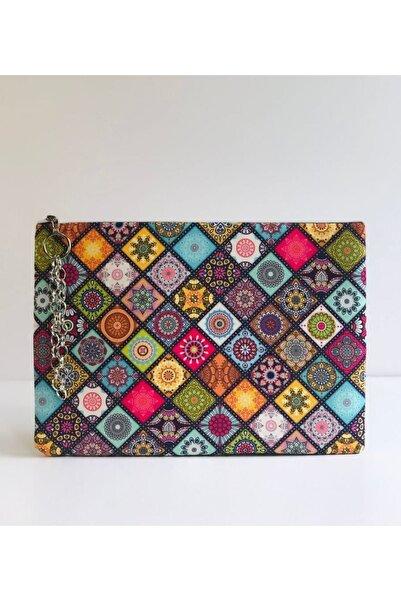 çanta tasarımcısı Etnik Mor Desen Clutch Çanta