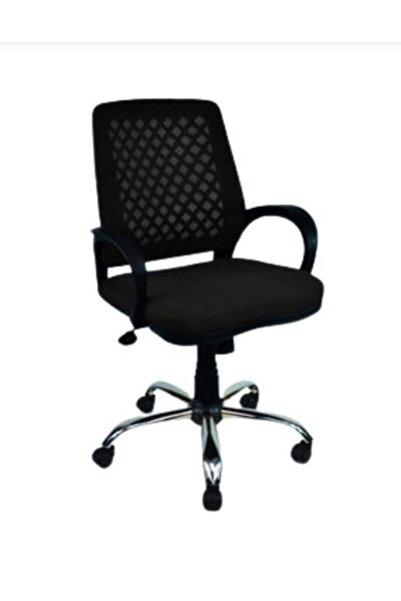 CLK Fileli Petek Ofis Büro Bilgisayar Koltuğu Sandalyesi Siyah Krom Ayak