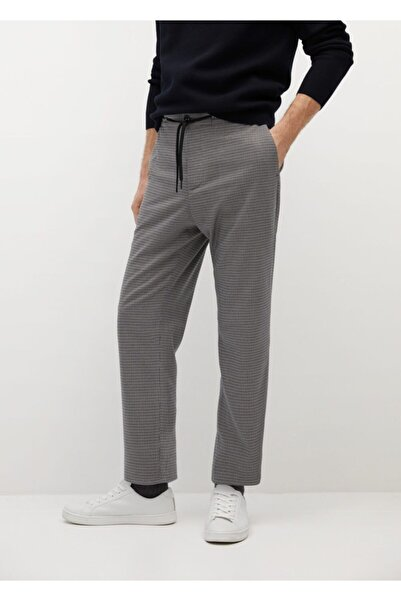 MANGO Man Kazayağı Desenli Jogger Pantolon