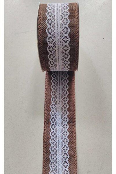 Bemsa Jüt Dantelli Kurdela ( Kahve Renk Üzeri Beyaz Dantel ) Eni 5,2 Cm.3.80 Metre Fiyatı