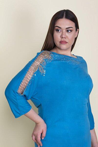 Şans Kadın Turkuaz Kol Ve Yaka Detaylı Kapri Kollu Bluz 65N25688