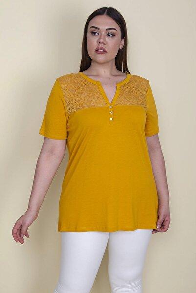 Şans Kadın Hardal Ön Ve Arka Robası Dantel Detaylı V Yaka Süs Sedef Düğmeli Bluz 65N25685