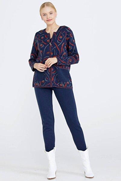 Sementa Sıfır Yaka Fermuarlı Kadın Triko Ceket - Lacivert