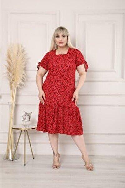 Kırmızı Eteği Fırfırlı Elbise