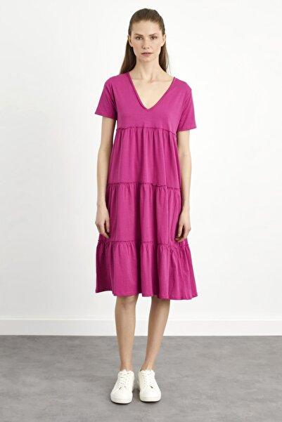 adL Kadın Pembe V Yaka Elbise
