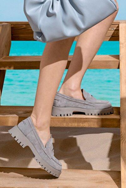Derimod Kadın Süet Deri Kalın Tabanlı Ayakkabı