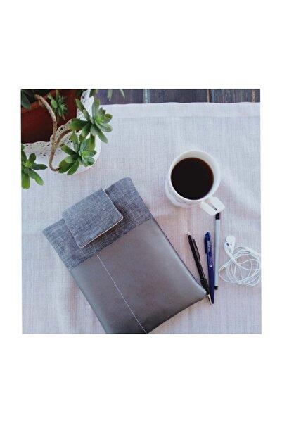SADE SO SIMPLE Fy Design Gümüş Suni Deri Detaylı Gri Keten Görünümlü Kitap Kılıfı Düzenleyici
