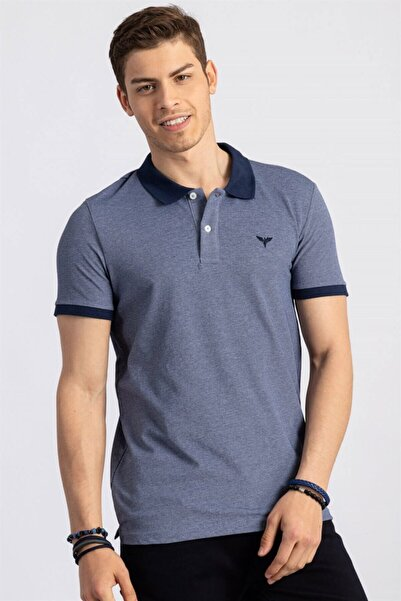 Tudors Erkek Slim Fit Dar Kesim Polo Yaka Lacivert T-shirt