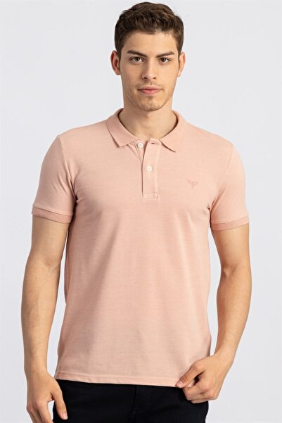 Tudors Erkek Slim Fit Dar Kesim Polo Yaka Somon Renk  T-shirt