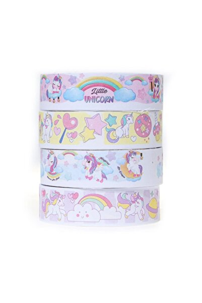 VUKİ Unicorn Renkli Desenli Bant 5m Unicorn 4 Lü Set