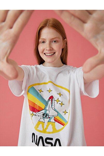 Koton Kadın Ekru Nasa  T-Shirt