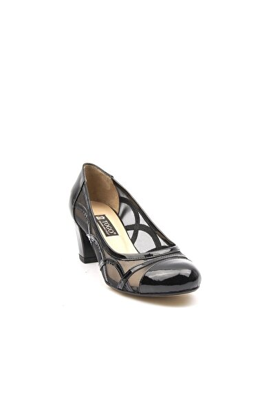 TOGO Kadın Siyah Rugan Kısa Topuk File Tasarım Kapalı Burun Casual Ayakkabı