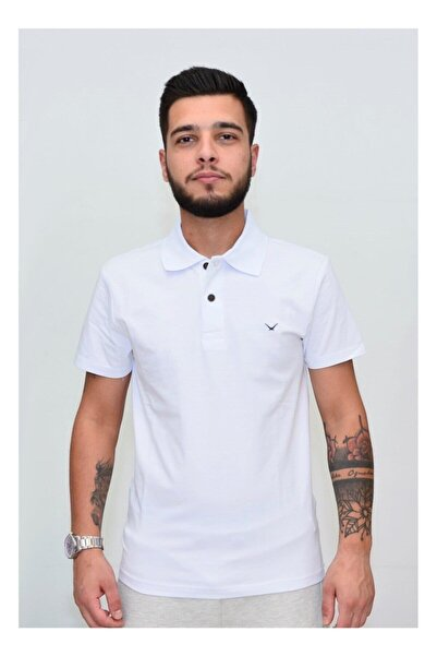 Cazador Erkek Beyaz Polo Yaka T-shirt
