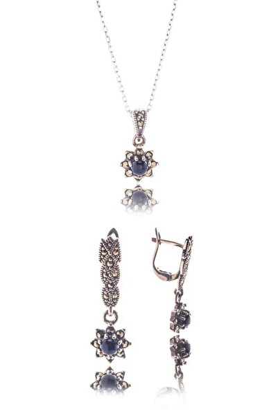 Glint Point Oniks Ve Markazit Taşlı Çiçek Model Gümüş Set