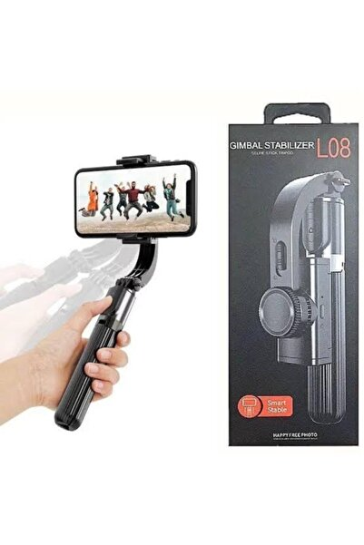 TECHNOZ L08 Gimbal 3 Eksenli Telefon Ve Kamera Sabitleyici Bluetooth Selfie Vlog Tripod Siyah