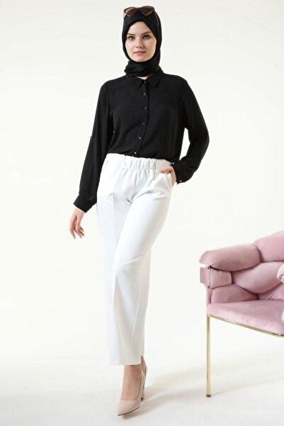 Ferace Kadın Tesettür Beli Komple Lastikli Yazlık Pantolon