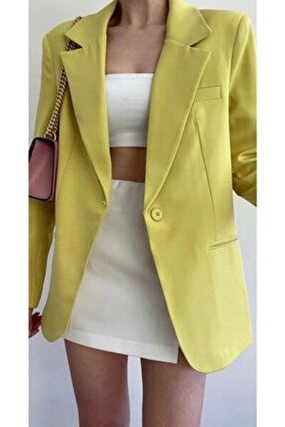 Sarı Tek Düğmeli Boyfriend Blazer Ceket