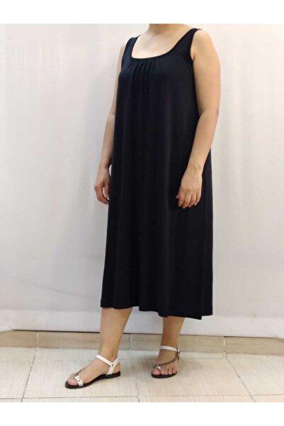 Mertcan Butik Önü Arkası Büzgülü Askılı Siyah Elbise