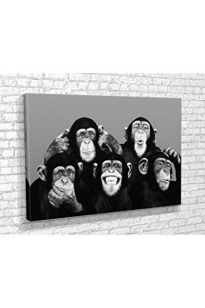Tablo360 Maymun Ailesi Kanvas Tablo