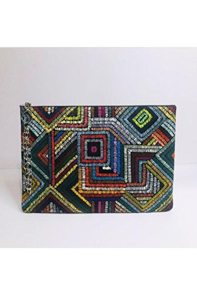 çanta tasarımcısı Kadın Turuncu Renkli Dikişler Desen Clutch Çanta
