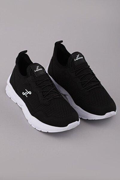 Arlin Erkek Fileli Bağcıklı Görünüm Esnek Hafif Yüksek Konforlu Taban Siyah-beyaz Spor Ayakkabı