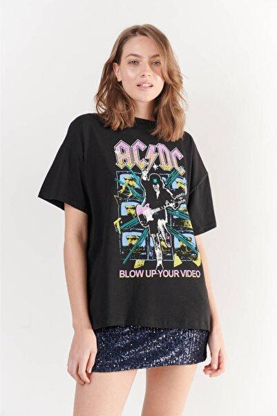 Zechka Siyah Ön Arka Ad Dc Baskılı Oversize Tişört (ZCK0253)