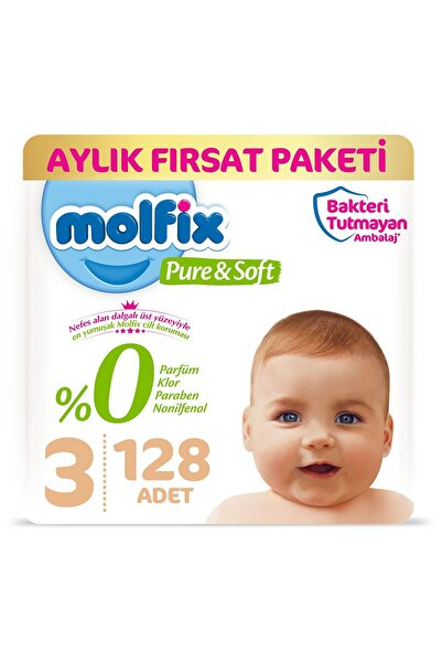 Molfix Pure&Soft 3 Beden Midi Aylık Fırsat Paketi 128 Adet